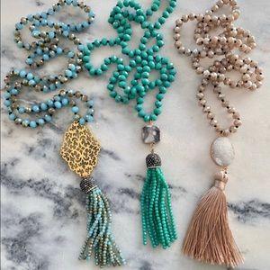 Long Teal Green Tassel Boho Necklace